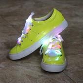 Кеды криперы светящиеся со светодиодными шнурками Т140