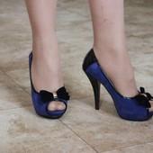 Туфли с открытым носком красная подошва бантик Т785