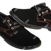 Мужские туфли мокасины эко-замша черные (ПТ 17В)