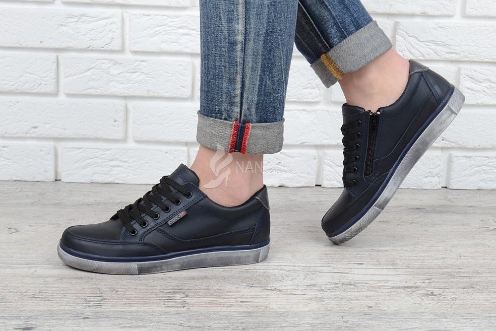 Кеды слипоны кожаные ecco синие на шнуровке и молнии 32-39 размеры фото №1