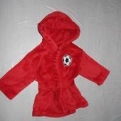р. 86-92 тепленький флисовый халат для маленького футболиста