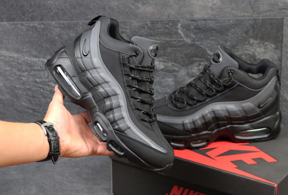 Зимние кроссовки Nike Air Max 95 black/gray фото №1