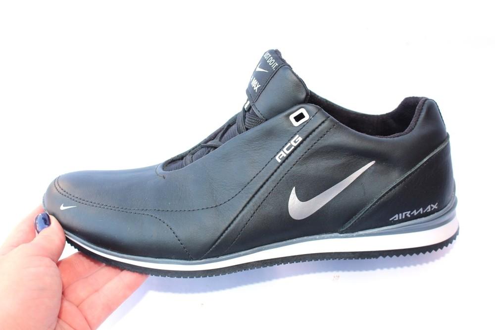Мужские кожаные кроссовки в стиле nike, 3 цвета фото №1
