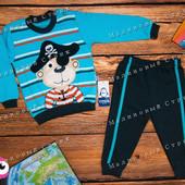 Костюм на мальчика Пират, 80 86 98 размер, кофта штаны, 100% хлопок, Турция