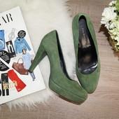 (39р.) 5th Avenue! Замша! Роскошные зеленые туфли на шпильке