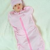 """Евро-пеленка кокон для новорожденных """"Горошек"""" розовый"""