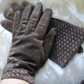 Перчатки замшевые коричневые Pia Rossini (L)