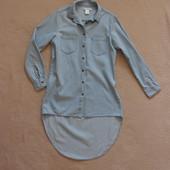 Фирменная модная удлиненная котоновая джинсовая рубашка