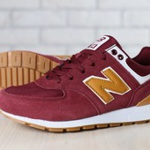 Мужские кроссовки, бордовые, из натуральной замши, с кожаными вставками коричневого цвета, на шнурка
