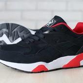 Мужские кроссовки, замшевые, черные, с текстильными и кожаными вставками, на шнурках