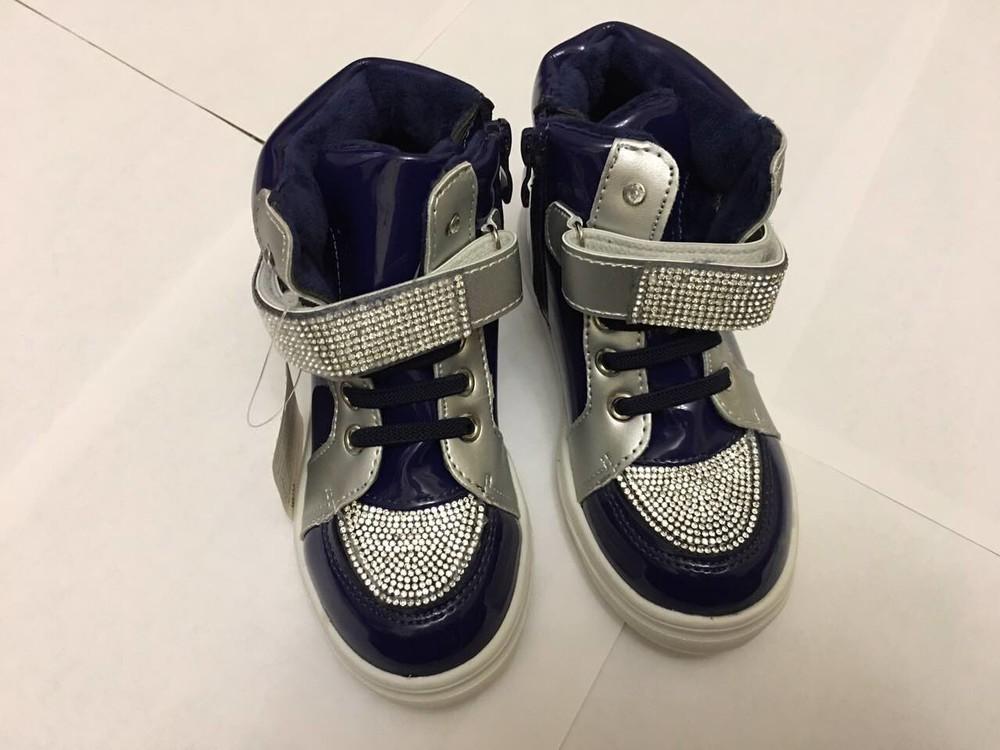 Ботинки демисезонные для девочки синие лак стразы фото №3