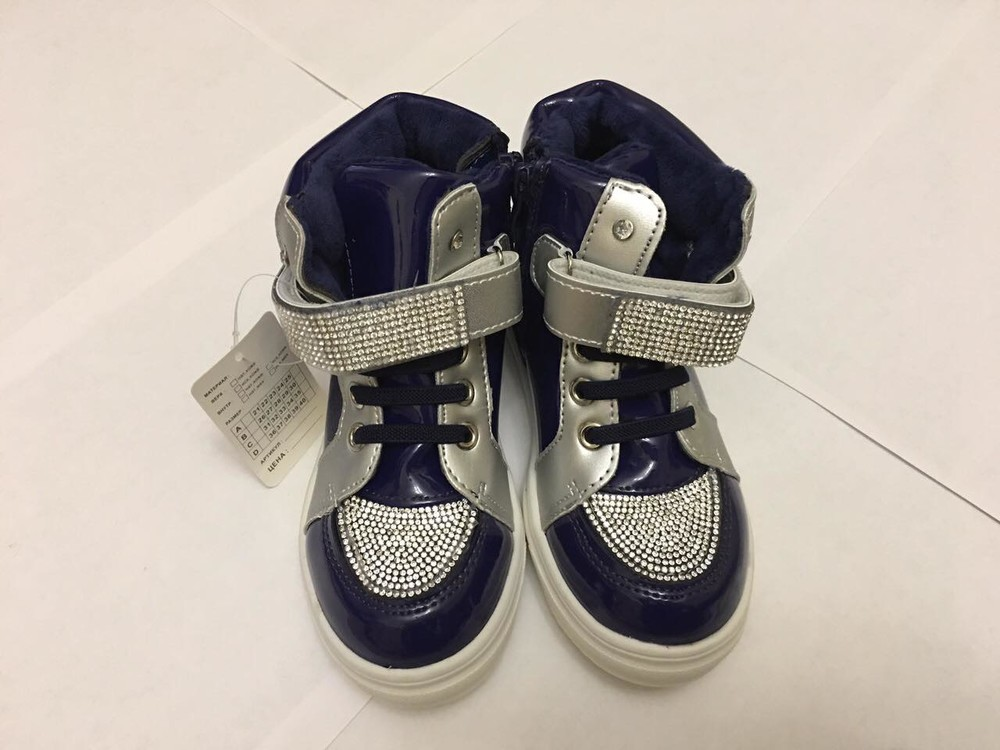 Ботинки демисезонные для девочки синие лак стразы фото №5