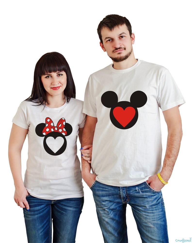 печать на футболках для двоих фото магазине