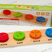 Деревянная игрушка Геометрика Дроби, сортировка по цвету, обучение математике
