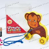 Деревянная каталка на веревочке обезьяна - Мартышка