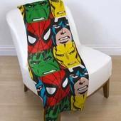 Детский флисовый плед Человек Паук, Бэтмен и др. герои комиксов Marvel 120х150 см