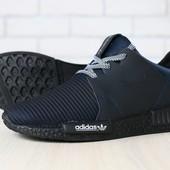 Мужские кроссовки, черные, из натуральной кожи, с текстильными вставками темно-синего цвета