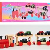 Деревянный поезд каталка на веревочке, паровоз, 2 вагона, 6 машинок, человечки