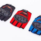 Вело-мото перчатки текстильные с усиленным протектор BC-360: M-XL