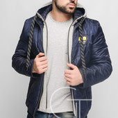 Мужская демисезонная куртка на «молнии».Т.синий, горчица, бордо