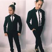 Школьный пиджак для девочки черный, синий и серый