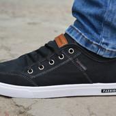 Мужские спортивные туфли кеды низкие тканевые черные