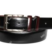 Модный мужской ремень черного цвета с коричневыми вставками (П-045)