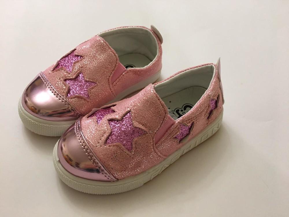 Слипоны, мокасины розовые звездочка фото №1