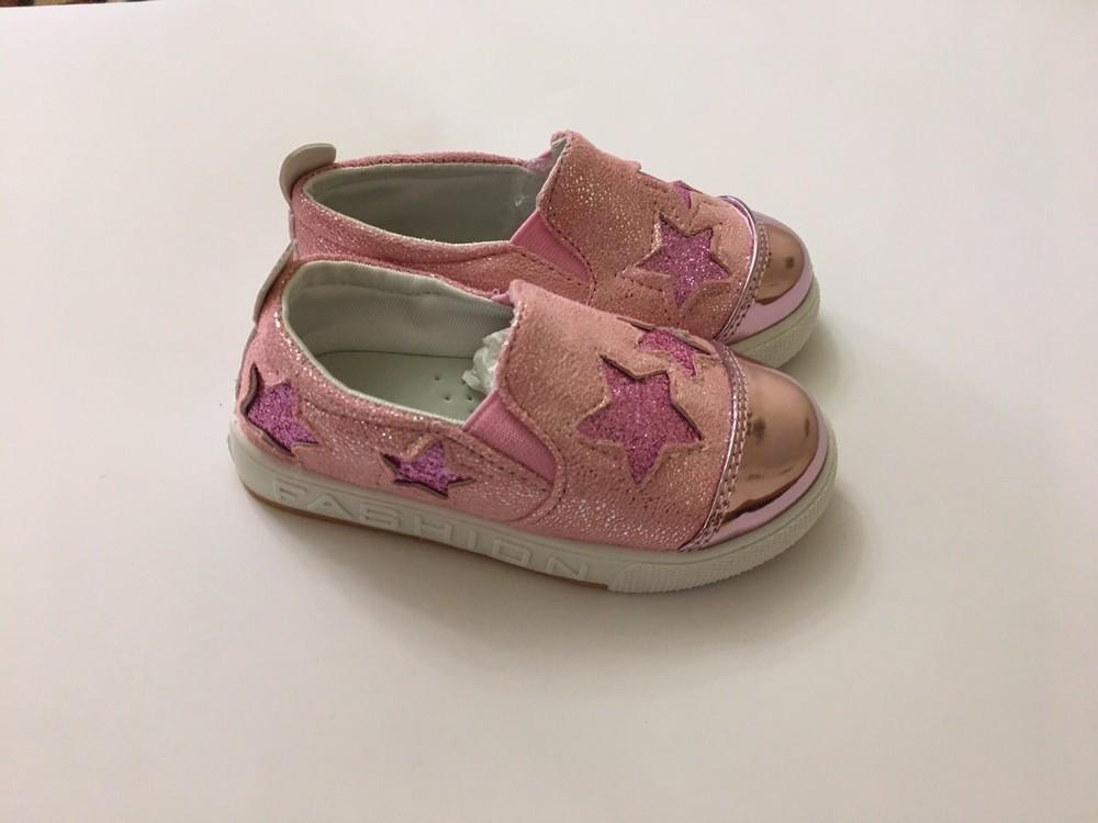 Слипоны, мокасины розовые звездочка фото №3