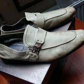 Мужские туфли мокасины бежевые Fаbi 45 размер, стелька 31 см, кожа