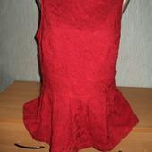Блузка Кофта Майка с баской гипюр кружево TU 12р