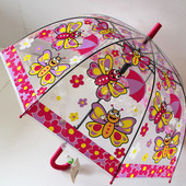 Качественный купольный прозрачный детский зонт зонтик Бабочки для девочки