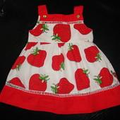 красивое платье busy peas 6-9 мес (можно до 12 мес) отл.состояние 100% х/б
