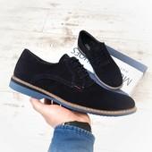 Мужские туфли, из натуральной замши, на шнурках, темно-синие, на синей подошве