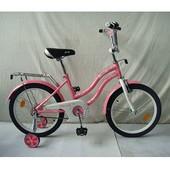 Велосипед детский Profi 18 дюймов L1891 Star, розовый,зеркало,звонок,доп.колеса