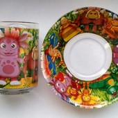 Стеклянные наборы посуды Лунтик, Маша и медведь
