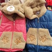 Детские жилетки на меху,возраст 1-2 года ,Турция