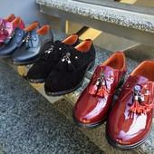 Туфли кисточки Натуральный лак, замш и кожа