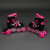 """Ролики детские Best Rollers 9031 """"S"""" размер 31-34 переставные, розовые"""