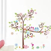 """Наклейка на стену для детской """"Большое дерево и совы"""""""