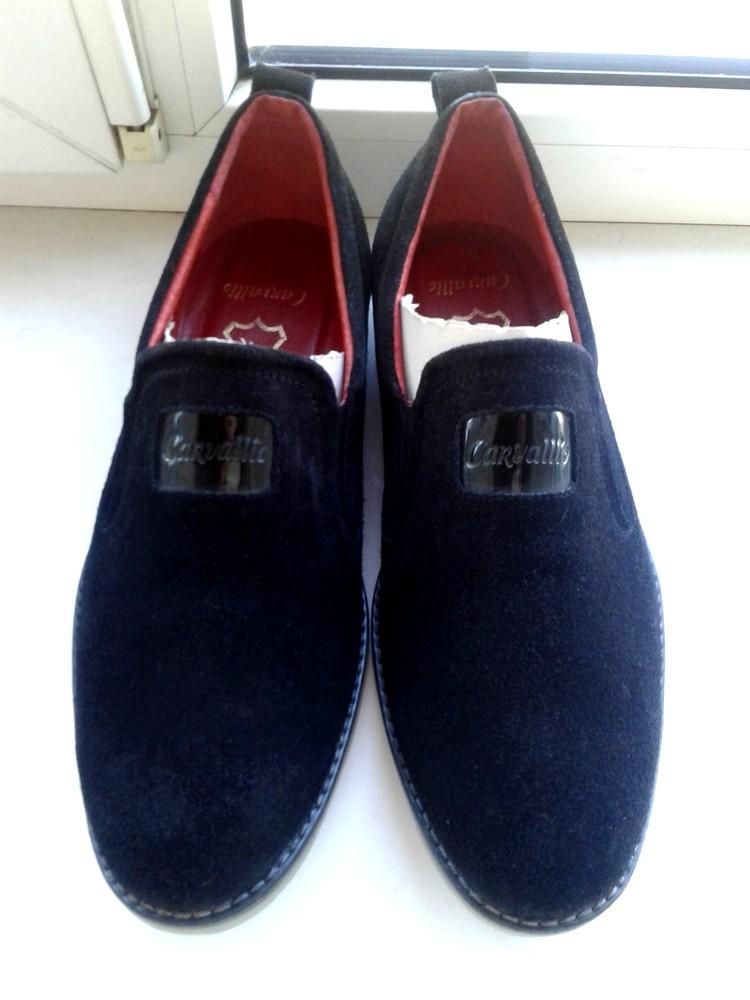 Туфли-мокасины замшевые. размер 42-43. черные фото №1