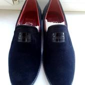 Туфли-мокасины замшевые. Размер 42-43. Черные