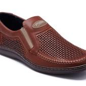Туфли коричневые из натуральной кожи (036пр)