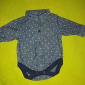 Фирменный бодик- рубашка Next baby от 3 месяцев