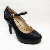 Туфли женские черные на каблуке