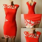 Красивое коктельное платье с деликатной отделкой из сетки  Размер 10/S