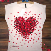 Новинка футболочка Сердечки Турция - пудра - большемерит