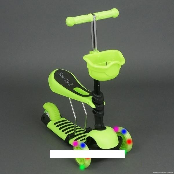 Детский самокат scooter 3в1 , сиденье, корзинка, салатовый (4109 а ) фото №1