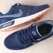 Мужские кроссовки, замшевые, синие, с кожаными вставками, на шнурках