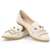 Туфли бежевого цвета на низком каблуке, экозамша